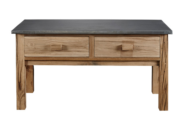 Zinc and Reclaimed Oak Console Table